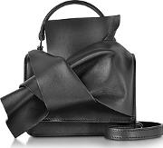 Black Leather Micro Crossbody Bag Wiconic Bow On Front
