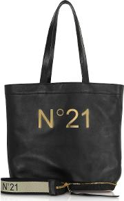 Black Leather Small Foldable Shopping Bag