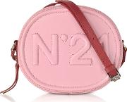 Pink Leather Oval Crossbody Bag Wembossed Logo