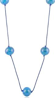 Blue Glass Bead Long Necklace
