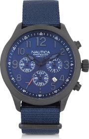Black Matte Stainless Steel Dial And Navy Blue Fabric Strap Men's Watch