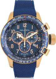 Gold Tone Stainless Steel Case And Blue Rubber Strap Men's Watch