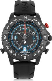 Nautica Men's Watches, Nsr 103 Tide Compass Black Stainless Steel Case And Rubber Strap Men's Watch