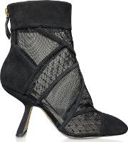90mm Selina Black Mesh And Suede Booties
