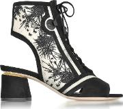 Phoenix Black Embroidered Lace Up Bootie
