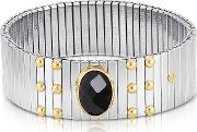 Single Black Cubic Zirconia Stainless Steel Wgolden Studs Women's Bracelet
