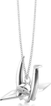 Sterling Silver Bird Pendant Long Necklace
