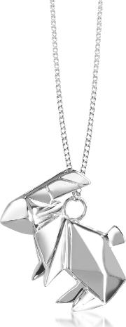 Sterling Silver Rabbit Pendant Long Necklace