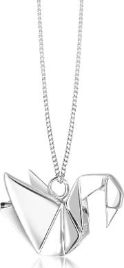 Origami Necklaces, Sterling Silver Swan Pendant Long Necklace