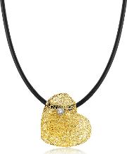 Woven Light Yellow Gold Heart Pendant Necklace Wdiamond