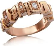 Sole Diamond 18k Rose Gold Band Ring