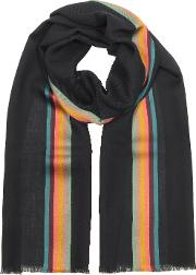 Navy Blue Artist Stripe Band Herringbone Wool Blend Men's Scarf