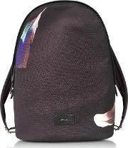 Black Canvas Feather Print Backpack