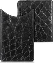 Crocodile Embossed Leather Card Case
