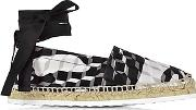 Cube Print Cotton And Leather Ankle Wrap Espadrille