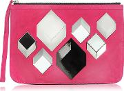 Pierre Hardy Handbags, Cube Pink Suede Pouch