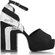 Roxy Black Suede And Silver Ayers Platform Sandal