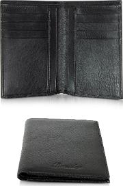 Country Black Leather Vertical Wallet