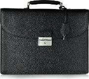 Pineider Briefcases, City Chic Black Leather Briefcase