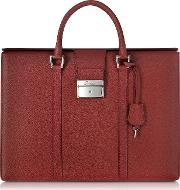 City Chic Embossed Leather Briefcase