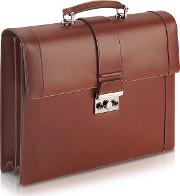 Pineider Briefcases, Power Elegance Brown Double Gusset Leather Briefcase