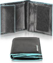 Blue Square Men's Leather Id Wallet
