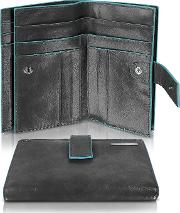 Blue Square Women's Leather Card Holder & Id Wallet