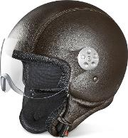 Open Face Dark Brown Leather Helmet Wvisor