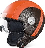Open Face Two Tone Leather Helmet Wvisor