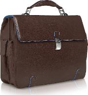 Piquadro Briefcases, Blue Square Leather 15 Laptop Briefcase