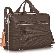 Piquadro Briefcases, Link Double Handle 15 Laptop Expandable Case
