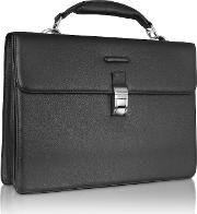 Modus Black Leather Laptop Briefcase