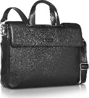 Modus Expandable Black Calfskin Two Handle Briefcase