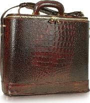 Pratesi Briefcases, Croco Stamped Leather Laptop Business Bag Wcourtesy Light