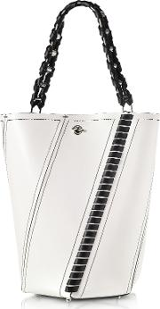 Black And White Leather Medium Hex Bucket Bag Wwhipstitch