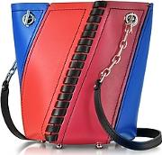 Color Block Smooth Leather Mini Hex Bucket Bag