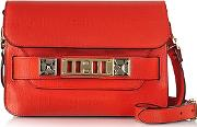 Ps11 Mini Classic True Red New Linosa Leather Shoulder Bag
