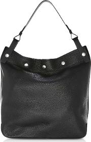 Black Pebbled Leather Compass Snap Hobo Bag