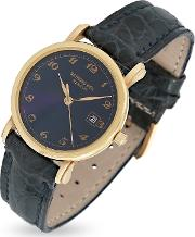Raymond Weil Women's Watches, Blue Dial 18k Gold And Croco Leather Dress Watch