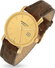 Brown Croco Stamped Leather Strap 18k Gold Date Dress Watch