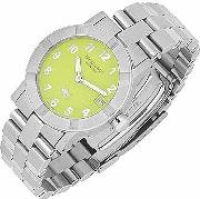 Parsifal W1 Women's Lime Dial Stainless Steel Date Watch
