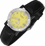Parsifal W1 Women's Yellow Stainless Steel & Leather Date Watch
