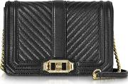 Black Quilted Leather Small Love Crossbody Bag