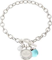 Hollywood Stone Rhodium Over Bronze Chain Bracelet Whydrothermal Turquoise Stone And Glass Pearl