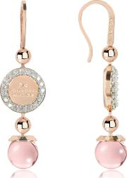 Boulevard Stone Rose Gold Over Bronze Dangle Earrings Wpink Hydrothermal Stone