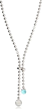 Rebecca Necklaces, Boulevard Stone Rhodium Over Bronze Necklace Whydrothermal Turquoise Stone And Pendant Charm