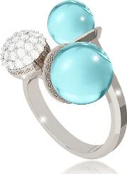 Rebecca Rings, Boulevard Stone Rhodium Over Bronze Ring Whydrothermal Turquoise Stones And Cubic Zirconia