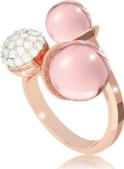 Boulevard Stone Rose Gold Over Bronze Ring W Hydrothermal Pink Stones And Cubic Zirconia