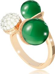Rebecca Rings, Boulevard Stone Yellow Gold Over Bronze Ring Whydrothermal Green Stones And Cubic Zirconia