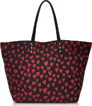 Red Valentino Handbags, Red And Black Heart Print Nylon Tote
